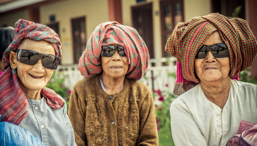 Three women after cataract surgery