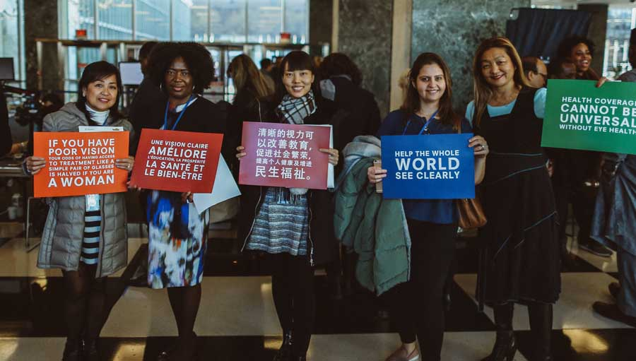 UN Friends of Vision - November Update. IAPB members holding placards at the UN screening in Nov 2019. Photo by Peter Crosby
