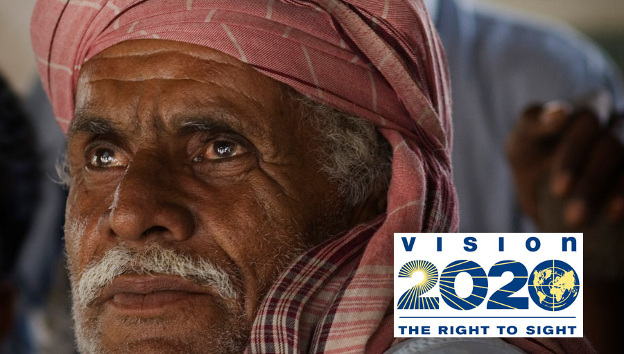 VISION 2020: The Right to Sight. Photo by Lannon Harley. The Foundation is allowed to use this photo in internal and external publications with credit.. . Father of five, Mohammad Hassan, is a former civil servant who now works as a labourer to support his family. . . The fifty-nine year old lives with his wife, Hajjan Hasan, and their three young sons. He also has two daughters from his first marriage, one of whom is married. The family live in the town of Seerani, a two hour bus ride from the main hospital in the Badin district, Sindh province, Pakistan.. . Mohammad heard about the annual eye camp at Badin District Hospital on the radio and read about it in his local newspaper.. . He decided to make the journey to Badin to seek treatment for his deteriorating vision in his right eye. At the hospital, he was diagnosed with cataract and underwent surgery to restore his sight.. . . *** Local Caption *** Father of five, Mohammad Hassan, was affected by cataract in his right eye. Mohammad travelled by bus for two hours to reach the eye camp held once a year at Badin District Hospital. He heard about the camp on the radio and saw announcements in his local newspaper. Badin District (Sindh province, Pakistan). Photo courtesy of Fred Hollows Foundation
