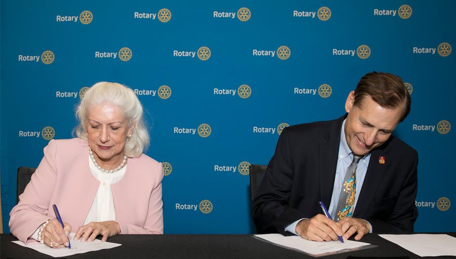 Rotary International Service Partnership. Rotary International General Secretary John Hewko and Vice President of IAPB Victoria Sheffield signing MOU