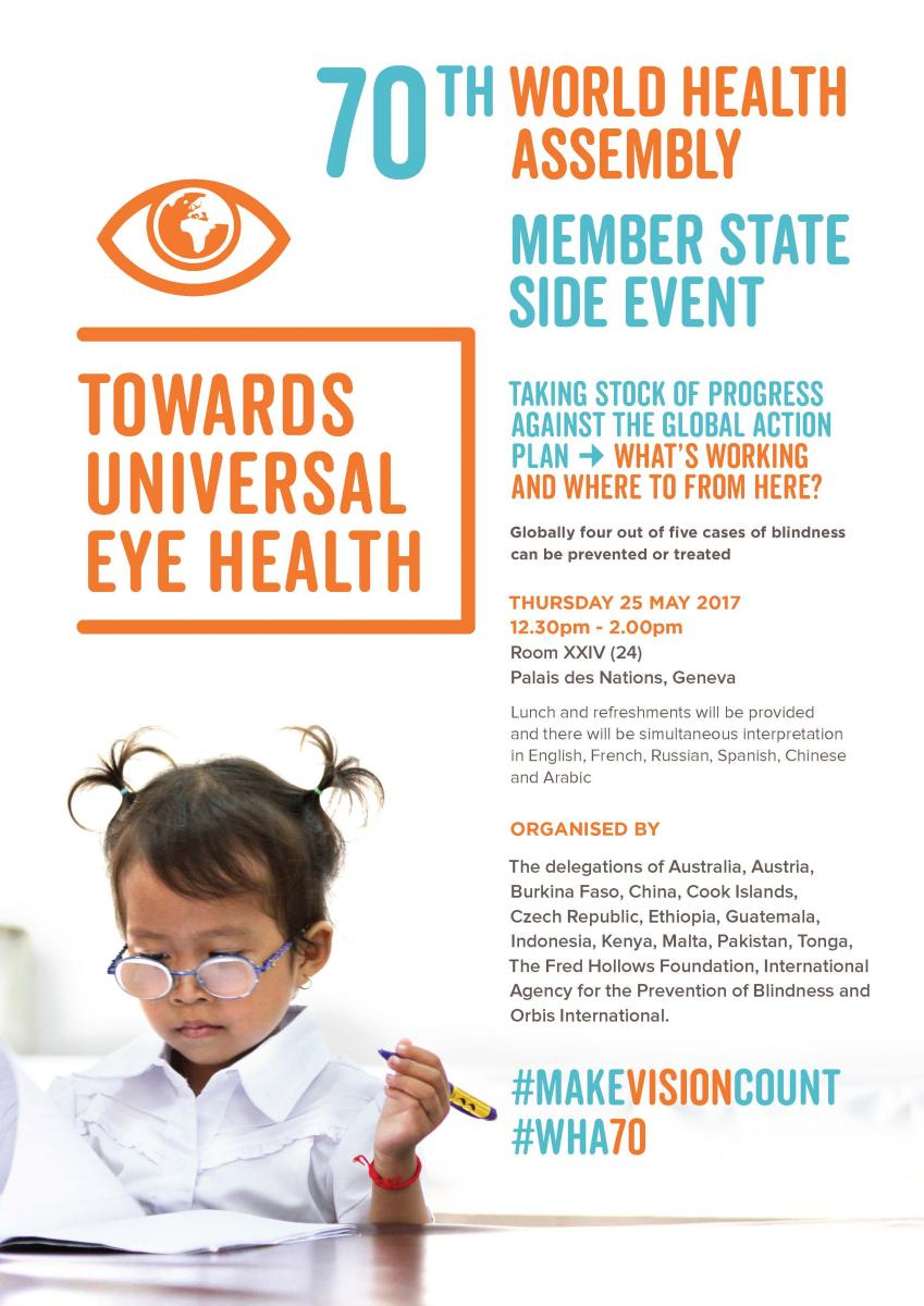 WHA70 Member State Side Event: Towards Universal Eye Health invitation in English