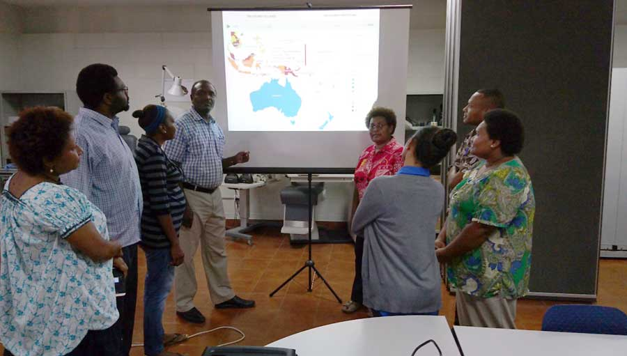 Vision Atlas Launch at UPNG – left to right: Dr Linda Lep, medical students, Lisiot and Daniel, Dr Geoffrey Wabulembo, Dr Jambi Garap, registrars, Dr Dennis Likia and Dr Maggie Mangot, Nerissa Wesley, PNG Eye Care.