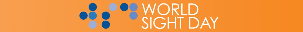 The World Sight Day orange ribbon with the WSD logo