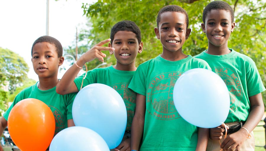 Boys with balloons at the World Sight Day 2013 event in Trinidad and Tobago. Photo courtesy, Trinidad & Tobago WSD committee