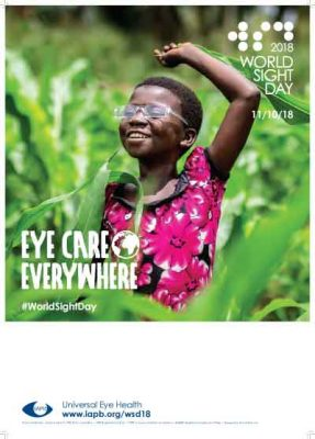 Poster with area for writing - Little girl with protective glasses is jumping with joy after a successful cataract operation