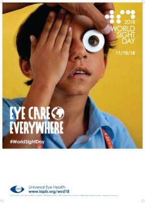 Poster with area for writing - child taking an eye test