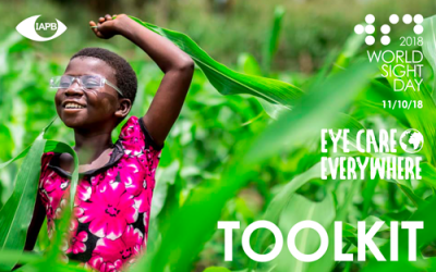Toolkit PDF cover page. Young girl dancing with joy after successful cataract surgery.