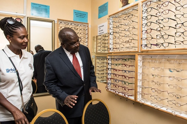The Minister of Health Dr Chilufya Chitalu visiting the University Teaching Eye Hospital