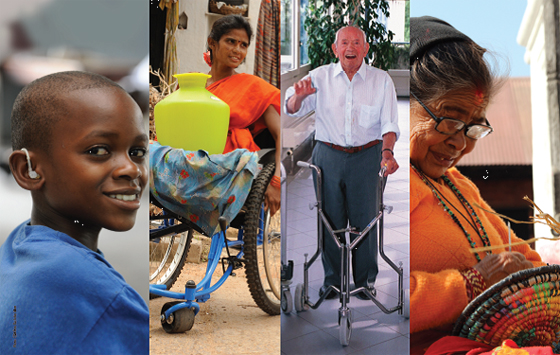 Collage of images: people with assistive devices | Image credit: WHO