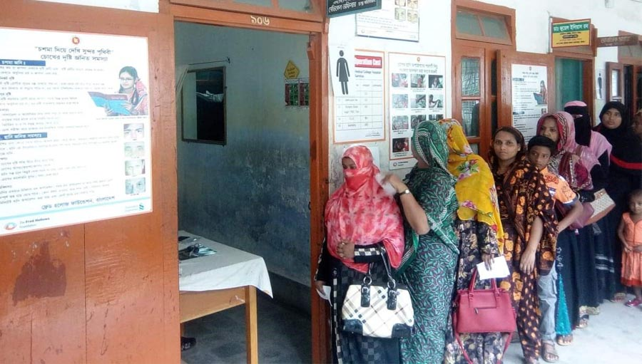 Women queuing for an eye screening