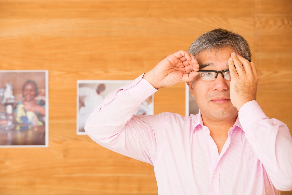 James Chen getting an eye test