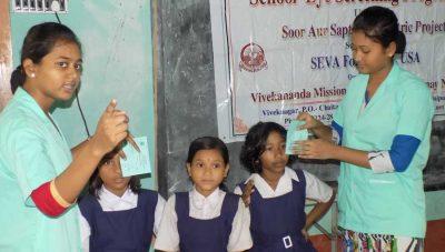 School eye screening camp organized by Vivekananda Mission Asram Netra Niramay Niketan, at West Bengal, India
