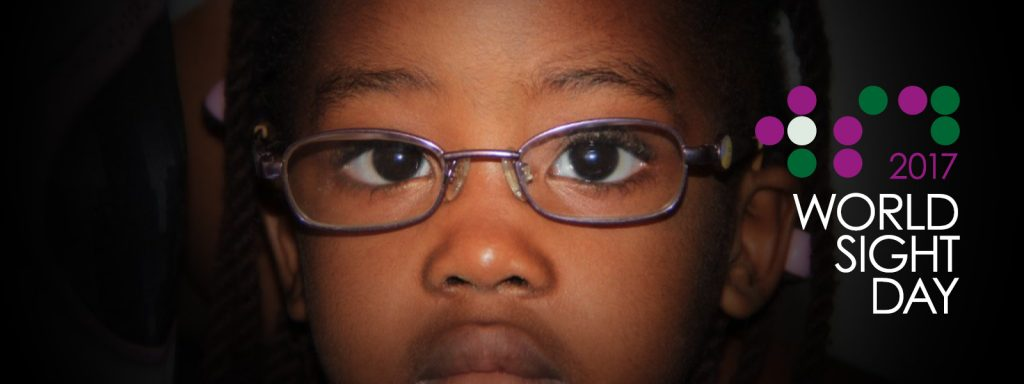 Vision Aid Overseas WSD banner with a child wearing spectacles