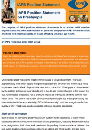 Position Paper on Presbyopia