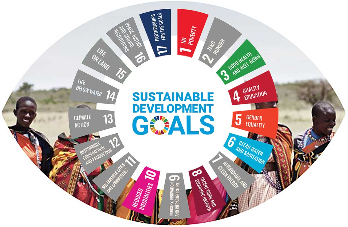 Infographic showing which SDGs vision impacts including Goal 1: No poverty Goal 2: Zero hunger Goal 3: Good health and well-being Goal 4: Quality education Goal 5: Gender equality Goal 8: Decent work and economic growth Goal 10: Reducing inequality