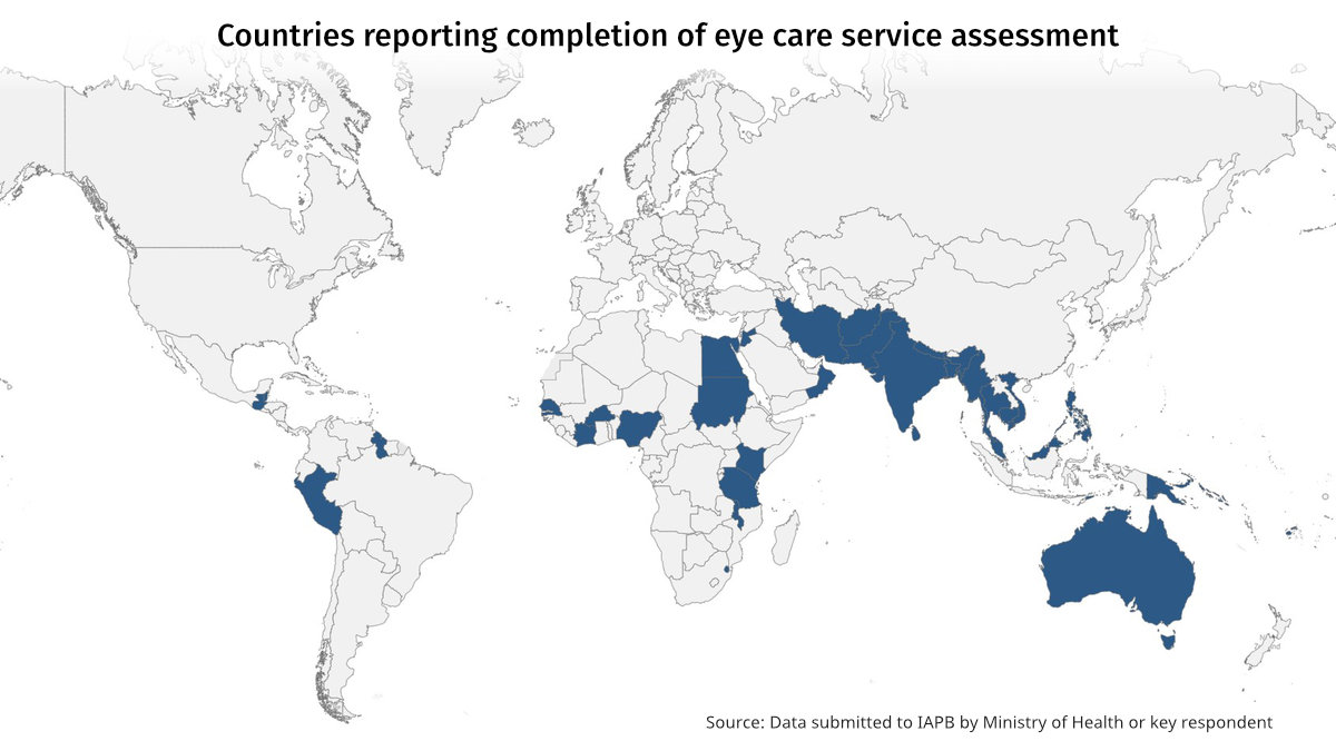 Map showing 40 countries reporting completion of eye care service assessment, mostly in Asia and Africa.