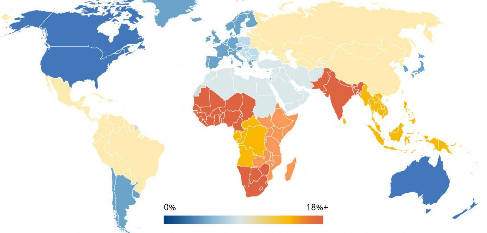 Map of world showing rates of vision loss, high in Africa and South Asia